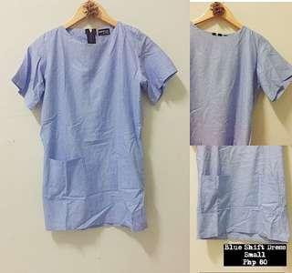 Blue Shift Dress with Pockets