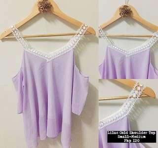 Lilac Cold Shoulder Top