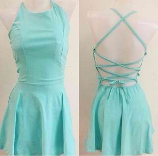 Turquoise Backless Halter Dress (cotton)