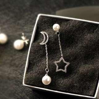🚚 全新月亮星星珍珠耳環