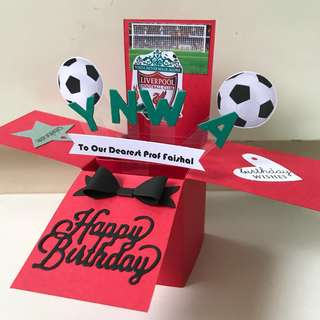Happy birthday Liverpool handmade Pop Up card