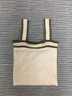 Beige strapped top 杏色方領粗帶背心 (短身)