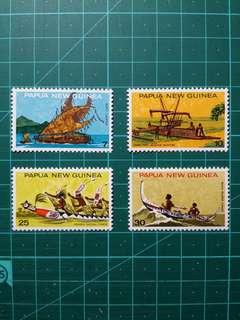 1975 巴布亞新畿內亞 獨木舟 新票一套
