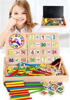 Kids Math Learning Wooden Numbers Clock Puzzle w/ Chalkboard