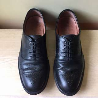 Bright Feather men's black leather shoes