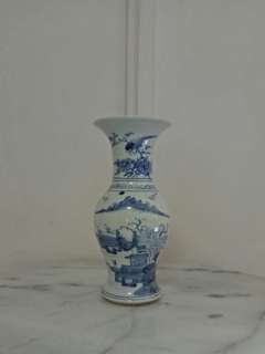 Landscape painting blue and white vase height 21cm perfect