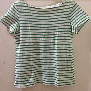Uniqlo green stripes shirt