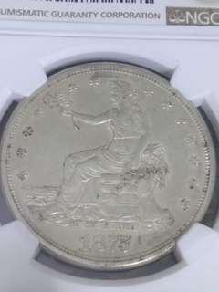 1875 S T$1 America Siliver 1Dollar USA Trade Coin Liberty (NGC Standard Brown AU58 評級幣) 1875美國銀幣(自由女神坐像 鷹徽橄欖枝與箭 拿花鷹洋大銀幣 扎花貿易銀元 早期鷹元 一枝花)  ringo77511@yahoo.com