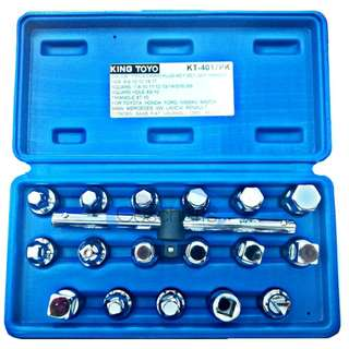 "King Toyo 17pcs 3/8"" Oil Drain Plug Key Set (With T-Handle)"