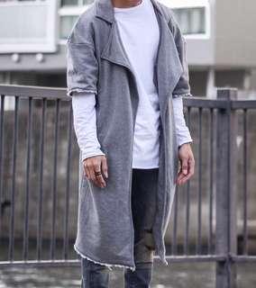 Raw Edge Short Sleeves Trench Coat