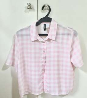 H&M Divided checkered / plaid / gingham white and pink top / button up blouse