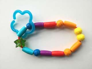 PRELOVED LEARNING CURVE Baby's Multicoloured Rainbow Soft Teething Beads - in excellent condition
