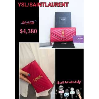 全新 YSL / SAINT LAURENT 372264 Classic Y 粉紅色 金色 牛皮按鈕 長銀包 錢包 Pink Leather Calfskin Button Wallet