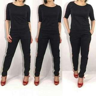 Nv Stelan hitam f22  112.000  Bahan scuba tebal size fit to L besar celana ada kantong kanan kiri celana panjang