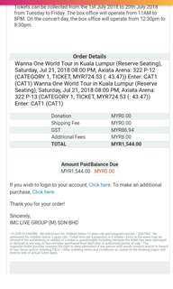 Wanna one world tour in KL ticket
