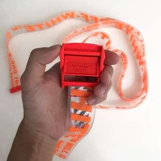 Off White Orange Rubber Industrial Belt