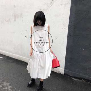 ioz 原創 極簡寬鬆中長連身背心裙 黑白