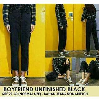 dicari! boyfriend  jeans unfinished black