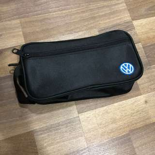 Brand new original Volkswagen double compartment utility canvas pouch with zipper and handle.