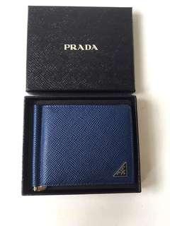 Authentic Brand New Prada Saffiano Money Clip/Card Holders In Blue