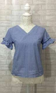 Blue Pinstrhpe Top With Ruffled Sleeves