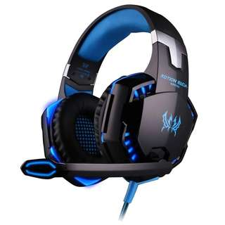 81.Gaming Headset with Mic for PC,PS4,Xbox One,Over-ear Headphones with Volume Control LED Light Cool Style Stereo,Noise Reduction for Laptops,Smartphone,Computer (Black & Blue)