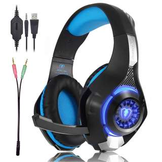82.Beexcellent Gaming Headset GM-1 with Microphone for New Xbox 1 PS4 PC Cellphone Laptops Computer - Surround Sound, Noise Reduction Game Earphone-Easy Volume Control with LED Lighting 3.5MM Jack(Blue)