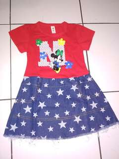 Dress Mickey usia 1tahun