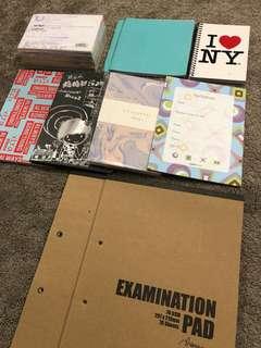 Notebooks + cue cards + examination pad