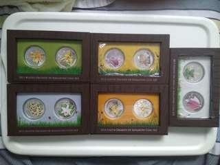 Singapore orchid colour proof coins set
