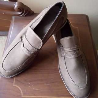casual loafer khaki leather shoes