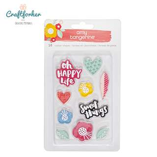 🚚 ♥EMBELLISHMENTS♥ AMY TAN OH HAPPY LIFE RUBBER STAMPS