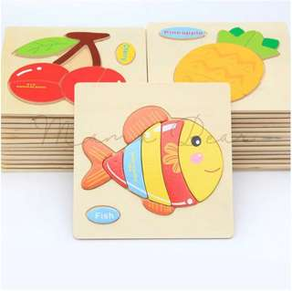 Kids Wooden Blocks Animal Puzzel Educational Toy Baby Toddler