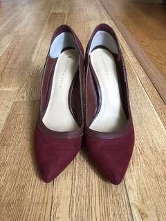 Charles & Keith Burgundy Heels (Free postage)