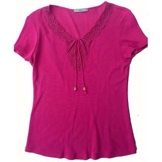 Marks and Spencer Fuschia Lace Blouse