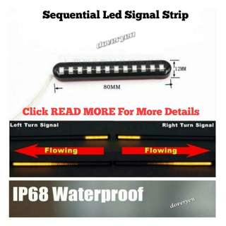 Motorcycle Car Van Sequential 流星 led signal light Strip Indicator Shooting Star Effect.           Built-in Flash module & Resistor Direct Plug & Play DC 12v                 Demo Video Avail On Description                   Click READ MORE for more details