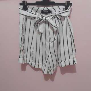 Valleygirl Striped Tie Shorts
