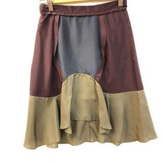 斯文半截裙 Carven brown silk skirt size 36
