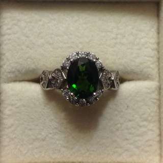 🚚 Chrome Green Diopside Sterling Silver Ring, Vintage Item - Fixed Price