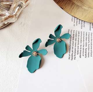 Turquoise orchid earrings