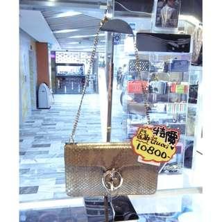 Gucci GG Logo Gold Snakeskin Leather Chain Shoulder Handbag Hand Bag GHW 古馳 金色 蛇皮 皮革 真皮 金鍊 金扣 鍊袋 肩袋 手袋 袋