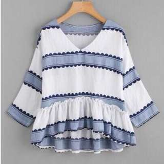 🌼00020- V-Neck Stripes Trendy Korean Top🌼