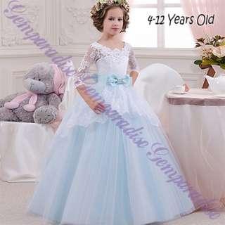 Elegant Girls Long Sleeves Baby Blue Princess Long Gown Lace Dress