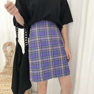VM 夏2018新款復古 ins 少女學生 清新 紫色格紋包臀高腰短裙
