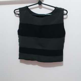 Black grey boxy sleeveless crop top
