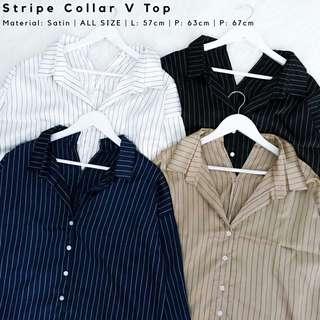 *NEW ITEMS* Stripe Collar V Top