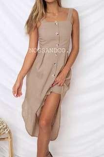 NC1062 Buttons Irregular Dress (Pink/White/Khakis/Black/Navy)