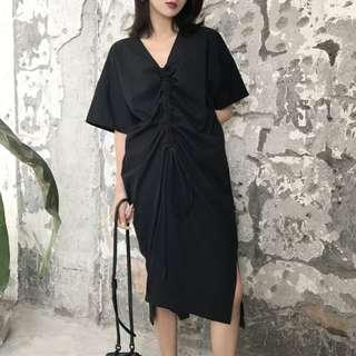 VM 2018新款V領性感 暗黑 寬鬆各性胸前抽繩設計休閒百搭連身裙