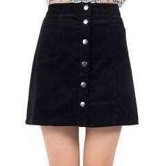 H&M black velvet button down skirt