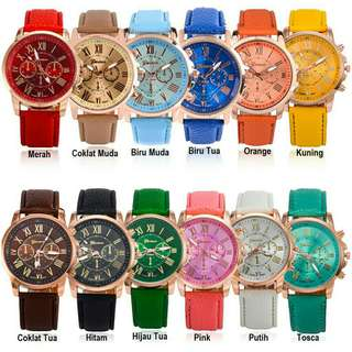 Jam tangan geneva leather quartz